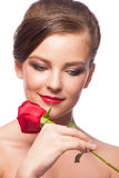 Woman with red rose Royalty Free Stock Photos