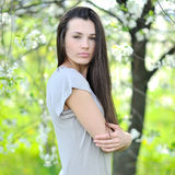 Portrait of a young beautiful woman on the nature Royalty Free Stock Photo
