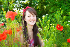 Portrait of a young beautiful woman in nature Royalty Free Stock Photography