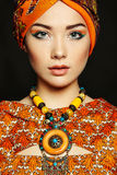Portrait young beautiful woman with necklace. Fashion photo royalty free stock photos