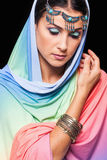 Portrait of young beautiful woman in oriental style Royalty Free Stock Photo
