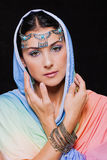 Portrait of young beautiful woman in oriental style Royalty Free Stock Image