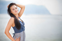 Portrait of young beautiful woman outdoors royalty free stock image
