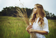 Portrait of young beautiful woman Stock Photos