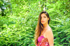 Portrait of a young beautiful woman in the  park Royalty Free Stock Photos