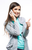 Portrait of young beautiful woman on phone call Royalty Free Stock Photo