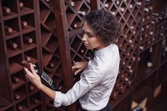 Portrait of young beautiful woman. Sommelier choosing wine in cellar stock photo
