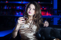 Portrait of the young beautiful woman, rest in bar Stock Photography