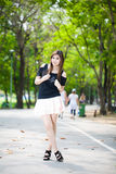 Portrait of young beautiful woman on the road Royalty Free Stock Image