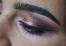 Portrait of young beautiful woman's eye zone make up Royalty Free Stock Image