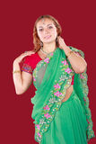 Portrait of a young beautiful woman in sari Stock Images