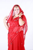Portrait of a young beautiful woman in sari Royalty Free Stock Photography