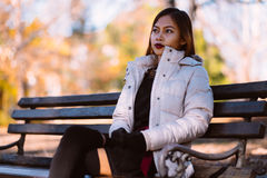 Portrait of young beautiful woman sitting on the bench in stylish warm outfit in sunny autumn day in park. Casual lifestyle in the Stock Photography