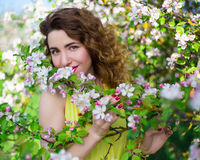 Portrait of young beautiful woman smelling apple tree branch in Royalty Free Stock Image