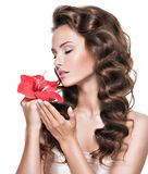 Portrait of young beautiful woman smelling flower near the face Stock Photography