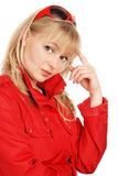 Portrait of the young beautiful woman in solar gla Stock Photo