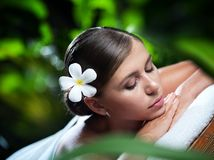 Portrait of young beautiful woman in spa Stock Image