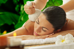 Massage on green Stock Images
