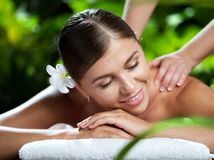 Portrait of young beautiful woman in spa Stock Photo