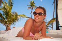 Portrait of young beautiful woman in spa Royalty Free Stock Photography