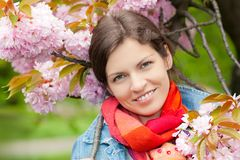 Portrait of young beautiful woman. Young beautiful woman in sprng garden Royalty Free Stock Photos