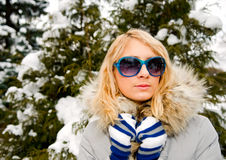 Portrait of young beautiful woman in sun glasses royalty free stock photos