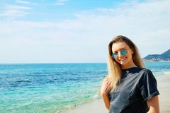 Cute girl having fun on a tropical vacation stock photo
