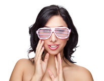 Portrait of an young beautiful woman wearing cool glasses Royalty Free Stock Images