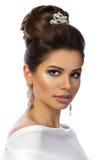 Portrait of young beautiful woman wearing white dress Royalty Free Stock Photo
