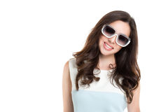 Portrait of young beautiful woman wearing white sunglasses. royalty free stock photos