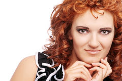 Portrait of young beautiful woman on white Royalty Free Stock Photo