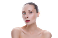 Portrait of a young beautiful woman. On a white background Royalty Free Stock Photo