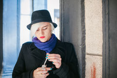 Portrait of young beautiful woman with white hair Royalty Free Stock Photography