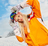 Portrait of young beautiful woman on winter outdoor background Stock Photography