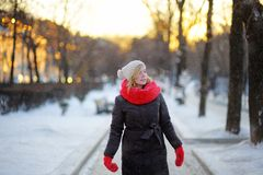 Portrait of young beautiful woman in the winter Royalty Free Stock Photos