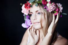 Portrait  young beautiful woman in wreath of Stock Photos
