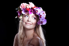 Portrait  young beautiful woman in wreath of Stock Photography