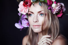 Portrait  young beautiful woman in wreath of Royalty Free Stock Photos