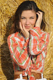 Portrait of young beautiful women near haystack Royalty Free Stock Images