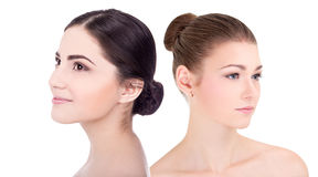 Portrait of young beautiful women with perfect skin  on Stock Photography
