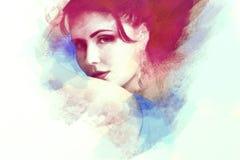 Portrait of young beautiful women, stylized Royalty Free Stock Photography