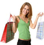 Portrait of young beautifull woman with bags Royalty Free Stock Photography