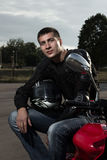 Portrait of young biker Royalty Free Stock Images