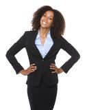 Portrait of a young black business woman smiling. On isolated white background stock images