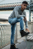 A portrait of a young, black man along NYC`s East River Williams Royalty Free Stock Images
