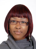 Portrait of young black woman with glasses Stock Image
