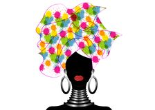 Portrait of the young black woman in a turban. Animation African beauty. Vector color illustration isolated on a white background. royalty free stock photos