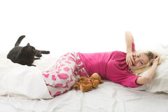 Blond girl with a cat Stock Images