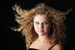 Portrait of a young blond woman stock photos