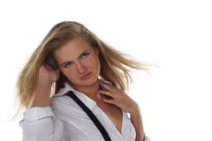 Portrait of young blond woman Stock Photos
